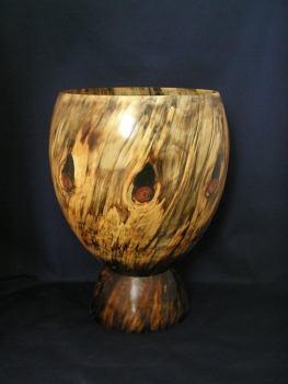 Spalted Turned Bowl with Large Base